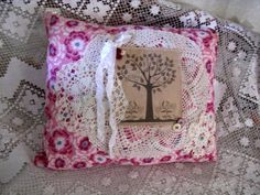 Vintage Feedsack Pillow Handmade Tree of by RomanticBohemian57