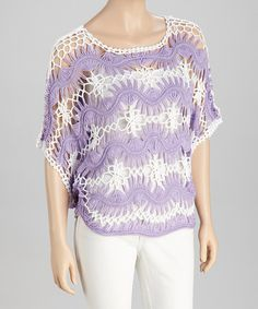 Take a look at this Purple & White Crocheted Cape-Sleeve Top by SR Fashions on #zulily today!