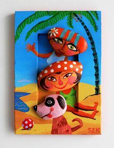 Pebble pictures by Krisztián Szántói. Pebbles, wooden frame, acrylic, epoxy, 11,5X16,5cm, 2013.