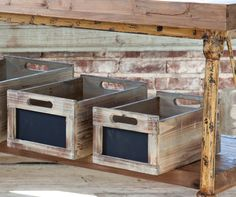 Produce Crates with Chalkboard Labels. Made from weathered, distressed wood for antique look. http://www.farmersmarketonline.com/marketsupply.htm