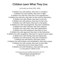 """Children Learn What They Live by Dorothy Law Nolte. """"If children live with..."""""""
