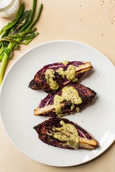 Crispy Cabbage with Roasted Green Onion Dressing