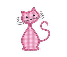 Feline Applique Machine Embroidery DesignINSTANT by SewChaCha, $3.00