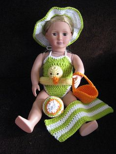 """Ravelry: Fun in the Sun Beach Outfit for American Girl or other 18"""" Doll (swimsuit & accessories) pattern by Stephanie Renee"""