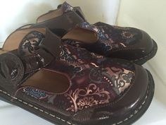 ALEGRIA Classic Clogs Mules Blue paisley  ALG-382 size 7M leather & lining  NEW #Alegria #Clogsmulesslides