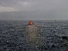 in a lake during a rainstorm...