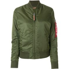 Alpha Industries aviator bomber jacket ($263) ❤ liked on Polyvore featuring outerwear, jackets, green, green flight jacket, bomber jackets, flight jackets, dark green jacket and alpha industries jacket