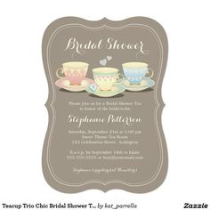 Teacup Trio Chic Bridal Shower Tea Party Invitations. A lovely trio of delicate teacups are sitting pretty on a soft sable brown background. A feminine die cut invite perfect for a Bridal Shower tea party.