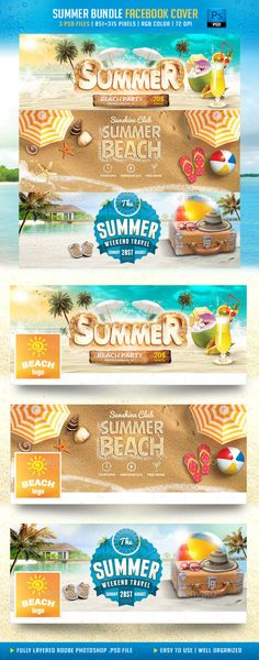 Summer Bundle Facebook Cover Template PSD #design Download: http://graphicriver.net/item/summer-bundle-facebook-cover/11858610?ref=ksioks