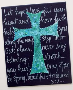 8x10 blue cross with Christian message by staceyfoster on Etsy, $20.00