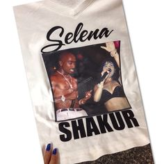 Selena tupac shirt Custom Selena quintanilla and tupac shirt I made! Was awesome wearing it and meeting Selena family ! Tops