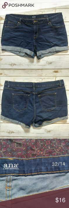 Ana roll cuff denim shorts Ana roll cuff denim shorts  Size 14/32 in good used condition. Please let me know if you have any questions. I ship the same day as long as the post office is still open. Have a great day, thanks for checking out my closet and happy poshing! a.n.a Shorts Jean Shorts