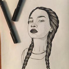 First ever self made portrait  #art #artwork #nawden #drawing #sketch #portrait #selfmade #talnts #arts_help #youth #ukraine #urban #ink #original #darklips #badassgenius #badass_genius #blackandwhite #copic #braided #braids by badass_genius