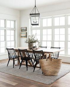 Dining Nook, Dining Room Sets, Dining Room Design, Dinning Room Ideas, Dining Table Rug, Farmhouse Dining Room Rug, Rug In Dining Room, Modern Farmhouse Table, Dining Room Windows