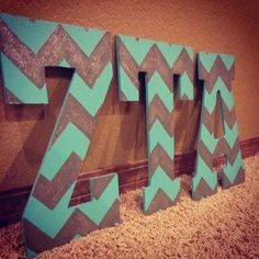 Chevron letters in sorority colors
