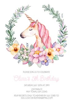 Unicorn Birthday Invitation Floral Birthday Invite Unicorn