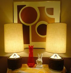 VTG 1950s MID Century Modern Huge Pair Laurel Lighting Cork & Chrome Lamps MOD