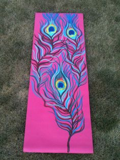 Hand Painted Yoga Mat Peacock Feathers