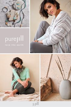 New soft styles inspired by the beauty of nature, including new designs made from organically grown cotton. Everyday Casual Outfits, Wood Post, Wood Bracelet, Boat Neck Tops, Knit Boots, Triangle Scarf, Knitted Poncho, Simple Shapes