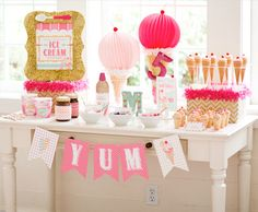 Ice Cream Shoppe Party with Free Printables: pink, peach, mint and gold {HWTM for PBK}