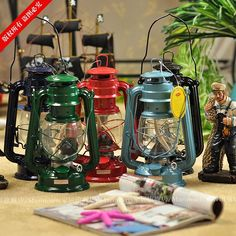 American vintage decoration chinese style lantern camping oil lamp romantic hurricane lantern decorations $10.99