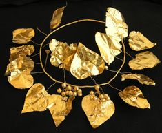 A gold wreath in the shape of an ivy plant discovered at a 2,400-year-old tomb complex in Cyprus.