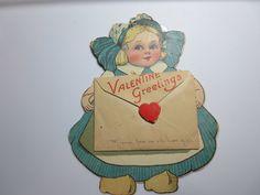 Vintage Valentine 1900's Dutch Girl with Valentine Greeting Opening Envelope Printed in Germany...