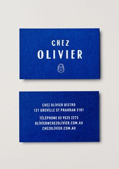 Chez Olivier by Swear Words, Australia. #branding #businesscards