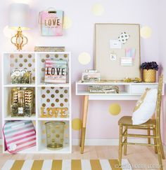Inspiration starts with your workspace! Glam it up with pops of gold and vibrant watercolor accents to help kick your motivation into high gear.