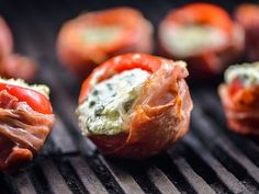 Prosciutto-Wrapped Stuffed Cherry Peppers Recipe | Hot cherry peppers, filled with ricotta and provolone cheeses, are wrapped with prosciutto and cooked on the grill.  #memorialdayweekend #memorialdayrecipes #longweekend #seriouseats #recipes Pepper Poppers, Jalapeno Poppers, Cherry Pepper Recipes, Potluck Recipes, Appetizer Recipes, Grilling Recipes, Appetizers For Party, Cooking Recipes, Gourmet Recipes