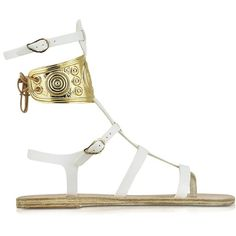 Ancient Greek Sandals with LALAoUNIS Rhodes White Leather Sandals ($650) ❤ liked on Polyvore featuring shoes, sandals, leather sandals, white shoes, leather sole shoes, leather sole sandals and white strappy shoes