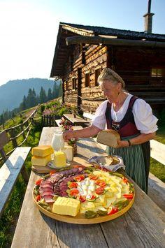 Rustic charm, traditional food in Austria Almjause auf der Maurachalm, countryside Salzburg