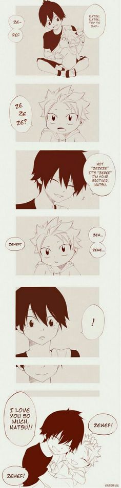 Fairy Tail - Zeref - Etherius Natsu - Dragneel - Brother - Friend - Cute - History - Memory Fairy Tail Lucy, Fairy Tail Amour, Image Fairy Tail, Fairy Tail Family, Fairy Tail Nalu, Fairy Tail Guild, Fairy Tail Couples, Fairy Tail Ships, Fairytail