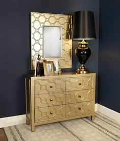 Browse our fabulous Ritzy collection A beautiful collection of Gold painted furniture a raised geometric design Just fabulous WALL MIRROR Ready