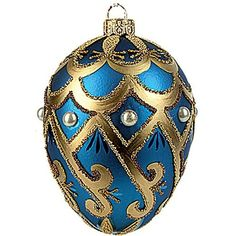 Faberge Inspired Blue Pearl Egg Polish Mouth Blown Glass Christmas Easter Nament