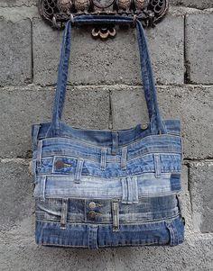 Denim handbag tote shoulder bag recycled distressed door BukiBuki