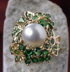 South Sea Pearl ring surrounded with pave' set by DanielSommerfeld