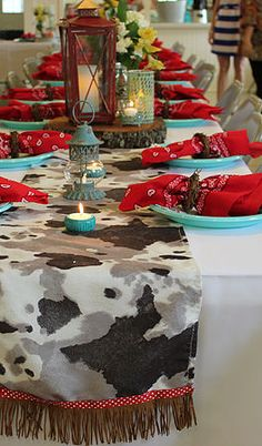 Guest Table • Lanterns • Cow Print Runner • Fringe | Cowboy Baby Shower | South Texas wedding & event planning