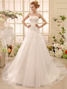 Beading Chapel Train Ivory Bridal Wedding Gown with A-line Strapless Neck - Milanoo.com