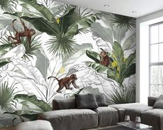 Banana Leaf Wallpaper for Nursery Monkey Pattern Wall Mural Botanical Home Decor Cafe Design Livingr Nursery Wallpaper, Wallpaper Size, Monkey Pattern, Landscape Walls, Cafe Design, Wall Patterns, Wall Prints, Wall Murals, Tropical