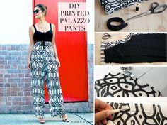 DIY PRINTED PALAZZO PANTS - DIY WIDE LEG TROUSERS!!!