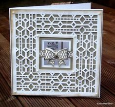 Sue Wilson Bevelled Glass Striplet Sue Wilson lattice 3D bow die Sue Wilson Classic 3D bow die Vintage Photo Distress ink Pearls form Spain ...