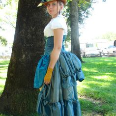 Blue peacock themed Steampunk Costume, shown at Willet's Kinetic Carnivale. #steampunk #corset #peacock