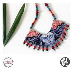 Every piece of Jewellery tells A Story - beautiful hand-painted jewellery from . Diy Jewelry Necklace, Fabric Necklace, Tassel Jewelry, Textile Jewelry, Fabric Jewelry, Clay Jewelry, Jewelry Crafts, Jewelery, Necklaces