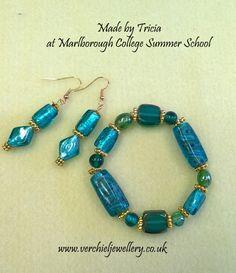 Bracelet & Earrings made by Tricia at Marlborough College Summer School. www.verchieljewellery.co.uk