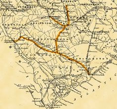 """Route of the South Carolina Railroad shown in yellow. Excerpted from """"Railroad map of South Carolina by Jed. Hotchkiss, T."""" in the Library of Congress. Historical Romance, Historical Fiction, Library Of Congress, Book Nooks, South Carolina, Charleston, Books To Read, Vintage World Maps"""