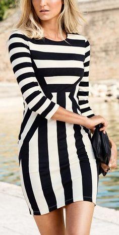 #fashion #stripe #dress #bodycon #outfit #smart