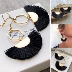 Boucles d'oreilles boho chic pendentif éventail noir et or Bracelets, Boho Chic, Drop Earrings, Boutique, Inspiration, Jewelry, Fashion, Stud Earrings, Boho Earrings