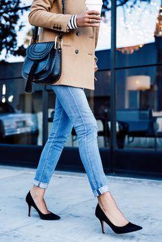 camel coat, black pumps, Chloe shoulder bag, striped shirt peeking out. love this!