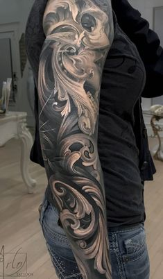 Some healed pics of Heidi's sleeve. Minus some fresh filigree on the back of… - diy tattoo project Full Sleeve Tattoo Design, Full Sleeve Tattoos, Top Tattoos, Forearm Tattoos, Black Tattoos, Body Art Tattoos, Tattoos For Guys, Tattoos Pics, Disney Tattoos
